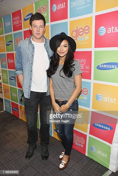 Actors Cory Monteith and Naya Rivera attend the Glee LIVE Tour on June 15 2011 at the ATT store in Edgewater New Jersey