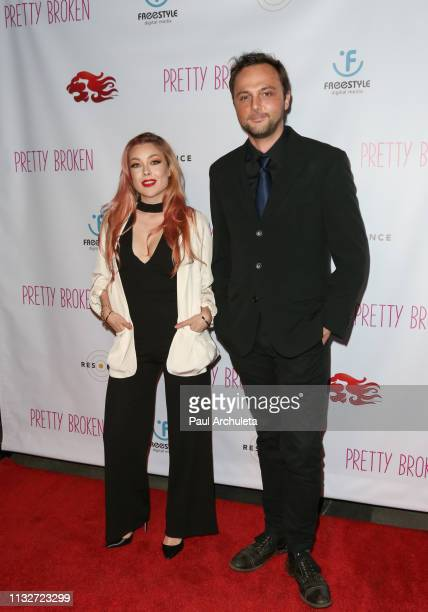 Actors Cosondra Sjostrom and Austin Hillebrecht attend the premiere of Pretty Broken at the Laemmle NoHo 7 on February 27 2019 in North Hollywood...