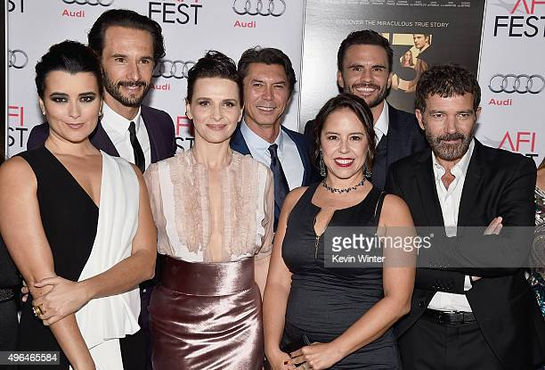 Actors Cote de Pablo Rodrigo Santoro Juliette Binoche Lou Diamond Phillips director Patricia Riggen and actors Juan Pablo Raba and Antonio Banderas...