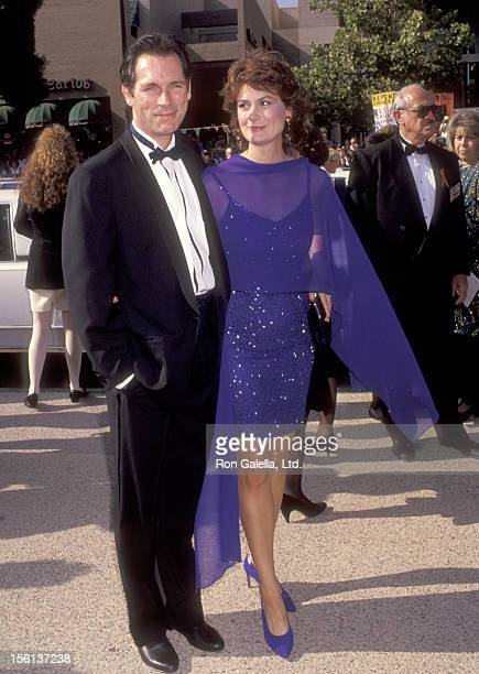 Actors Cotter Smith and Mel Harris attend the 43rd Annual Primetime Emmy Awards on August 25 1991 at Pasadena Civic Auditorium in Pasadena California