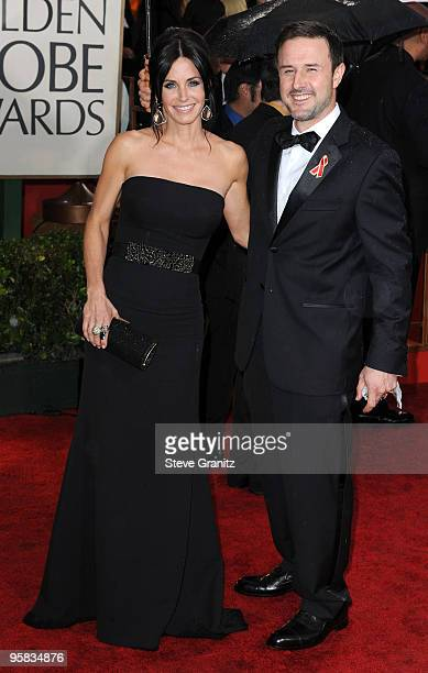 Actors Courteney Cox and David Arquette arrive at the 67th Annual Golden Globe Awards at The Beverly Hilton Hotel on January 17, 2010 in Beverly...