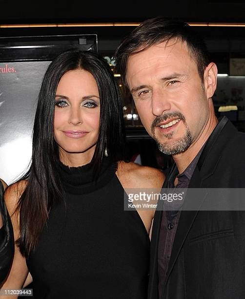 Actors Courteney Cox and David Arquette arrive at the premiere of The Weinstein Company's Scream 4 Presented by AXE Shower held at Grauman's Chinese...