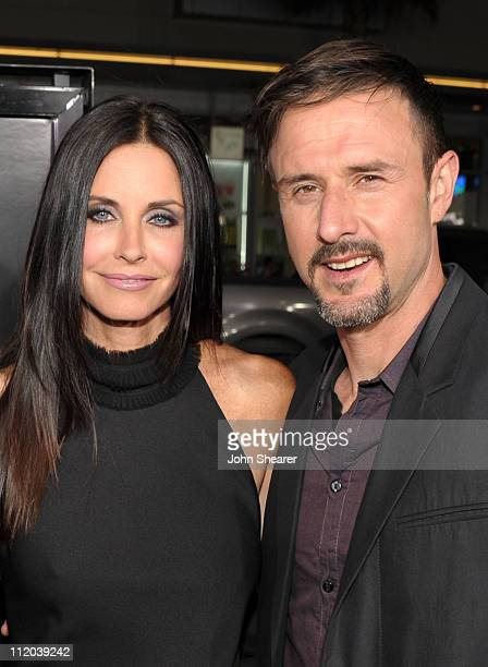 Actors Courteney Cox and David Arquette arrive at the world premiere of The Weinstein Company's 'Scream 4' presented by AXE Shower at Grauman's...