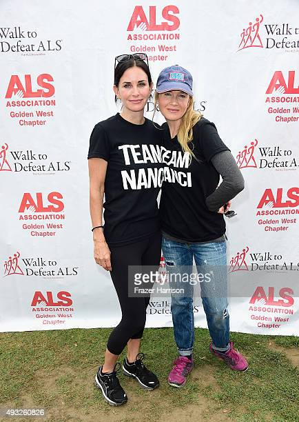 Actors Courteney Cox and Renée Zellweger attend the Nanci Ryder's Team Nanci At The 13th Annual LA County Walk To Defeat ALS at Exposition Park on...