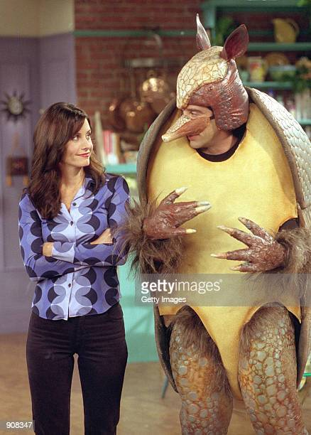 Actors Courteney Cox Arquette as Monica Geller and David Schwimmer as Ross Geller in NBC's comedy series Friends episode The One with the Holiday...