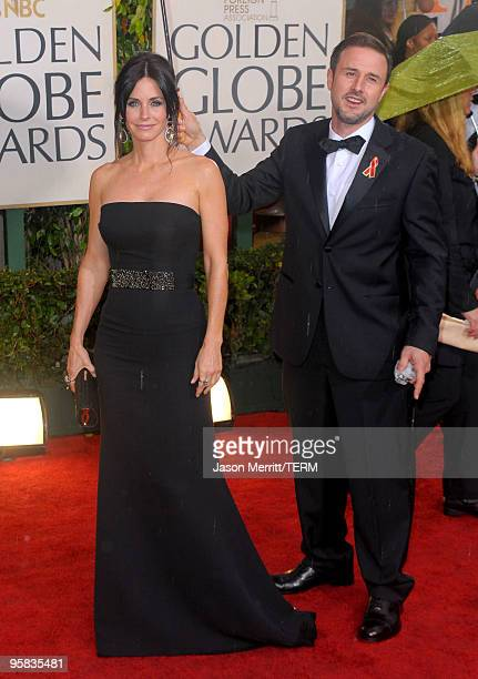 Actors Courteney Cox-Arquette and David Arquette arrive at the 67th Annual Golden Globe Awards held at The Beverly Hilton Hotel on January 17, 2010...