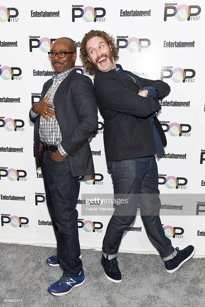 Actors Courtney B. Vance (L) and T.J. Miller pose backstage during Entertainment Weekly's PopFest at The Reef on October 30, 2016 in Los Angeles, California.