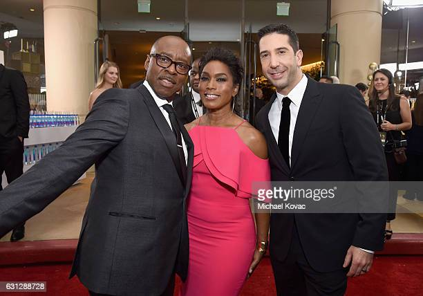 Actors Courtney B Vance Angela Bassett and David Schwimmer attend the 74th Annual Golden Globe Awards at The Beverly Hilton Hotel on January 8 2017...