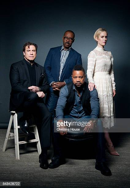 Actors Courtney B Vance Cuba Gooding Jr John Travolta and Sarah Paulson of 'The People vs OJ Simpson' for Los Angeles Times on April 4 2016 in Los...