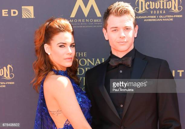 Actors Courtney Hope and Chad Duell attend the 44th annual Daytime Emmy Awards at Pasadena Civic Auditorium on April 30 2017 in Pasadena California