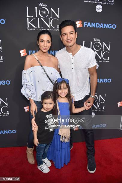 Actors Courtney Laine Mazza and Mario Lopez with Dominic Lopez and Gia Francesca Lopez at The Lion King SingAlong at The Greek Theatre in Los Angeles...