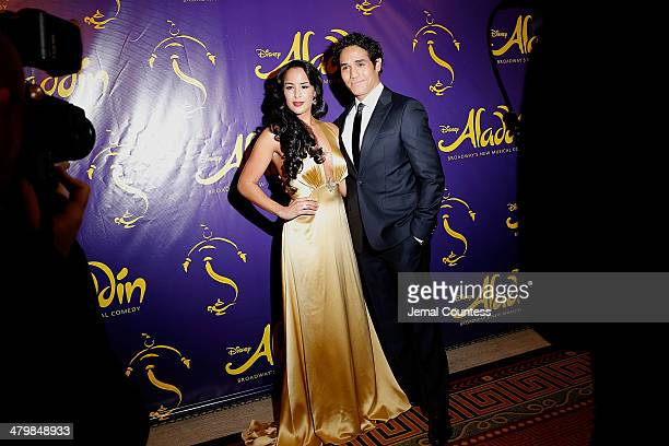 Actors Courtney Reed and Adam Jacobs attend the 'Aladdin' On Broadway Opening Night after party at Gotham Hall on March 20 2014 in New York City