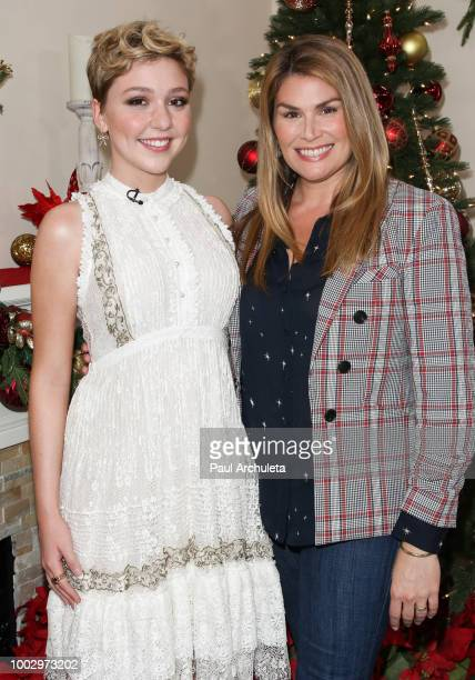 Actors Cozi Zuehlsdorff and Heidi Blickenstaff visit Hallmark's Home Family celebrating 'Christmas In July' at Universal Studios Hollywood on July 20...