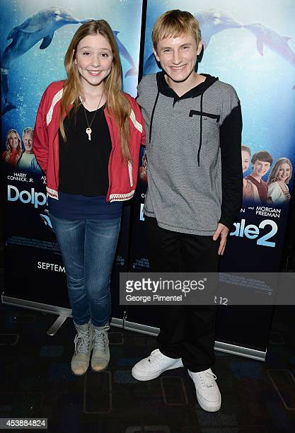 Actors Cozi Zuehlsdorff and Nathan Gamble from Dolphin Tale 2 attend a special advance Canadian screening of the movie held at Silvercity theatre on...