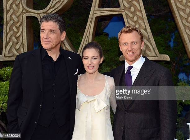 Actors Craig Ferguson Kelly Macdonald and Kevin McKidd arrive at the premiere of Brave during the 2012 Los Angeles Film Festival at Dolby Theatre on...