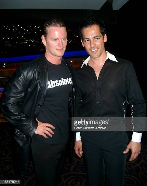 Actors Craig McLachlan and Alex Dimitriades attend the premiere of their new film 'Let's Get Skase' on October 15 2001 in Sydney Australia