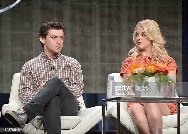 Actors Craig Roberts and Gage Golightly speak onstage during the 'Red Oaks' panel discussion at the Amazon Studios portion of the 2015 Summer TCA...