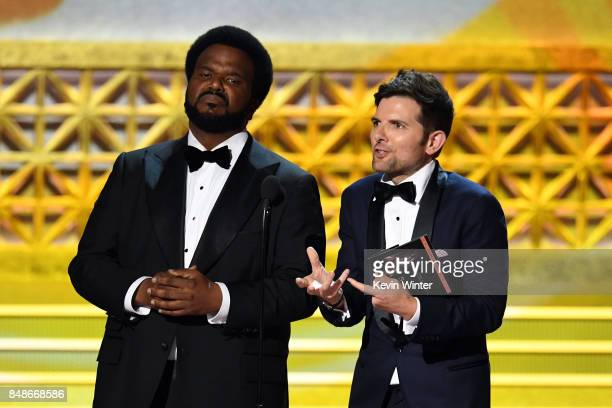 Actors Craig Robinson and Adam Scott speak onstage during the 69th Annual Primetime Emmy Awards at Microsoft Theater on September 17 2017 in Los...