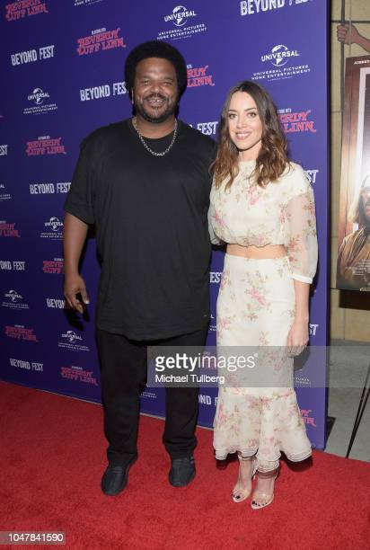 Actors Craig Robinson and Aubrey Plaza attend the premiere of An Evening With Beverly Luff Linn at 2018 Beyond Fest at the Egyptian Theatre on...