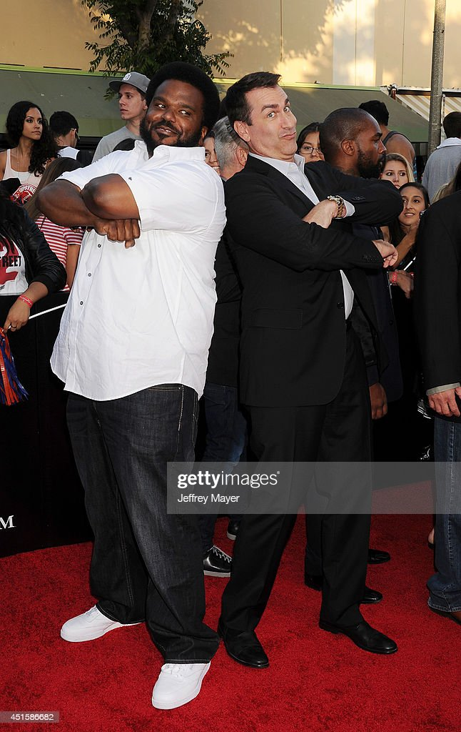 Actors Craig Robinson and Rob Riggle arrive at the Los Angeles premiere of '22 Jump Street' at Regency Village Theatre on June 10, 2014 in Westwood, California.