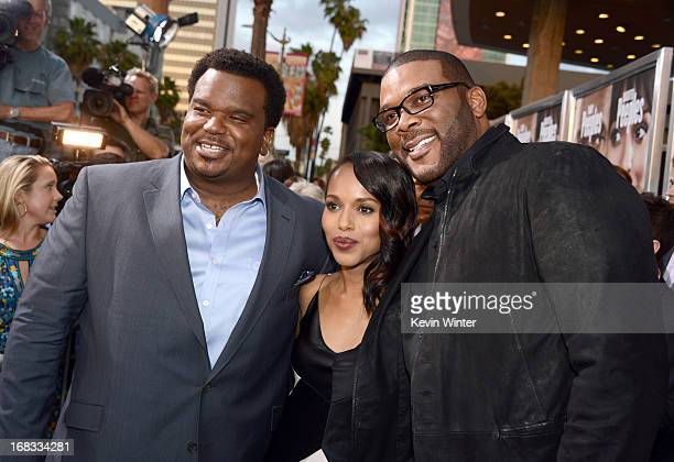 Actors Craig Robinson Kerry Washington and Producer Tyler Perry arrive at the premiere of 'Peeples' presented by Lionsgate Film and Tyler Perry at...