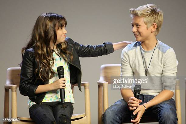 Actors Cree Cicchino and Thomas Kuc speak at the event Meet the Cast Nickelodeon's Game Shakers at the Apple Store Soho on September 10 2015 in New...