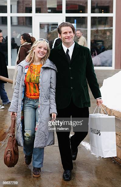Actors Crispin Glover and Courtney Peldon walk on Main Street during the 2006 Sundance Film Festival January 20 2006 in Park City Utah