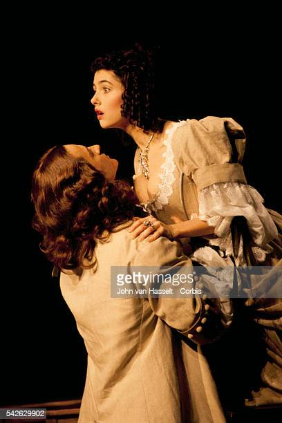 Actors Cristina Reali and Francis Huster perform in the stage play Le Misanthrope at Marigny Theater