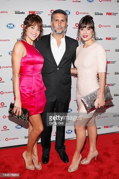 Actors Cristina Umana Marlon Moreno and Carolina Ramirez attend the Fox Hispanic Media Upfront at Ziegfeld Theatre on May 16 2012 in New York City