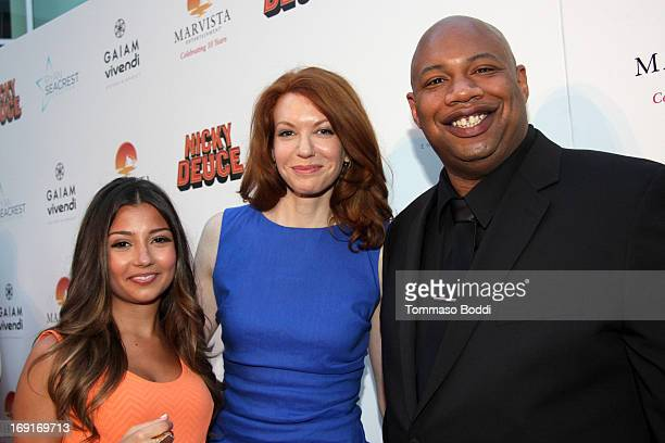 Actors Cristine Prosperi Andrea Frankle and Kwasi Songui attend the 'Nicky Deuce' Los Angeles premiere held at ArcLight Hollywood on May 20 2013 in...