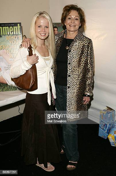 Actors Crystal Hunt and Marj Dusay backstage at the Pamella Roland Spring 2006 fashion show during Olympus Fashion Week at Bryant Park September 13...