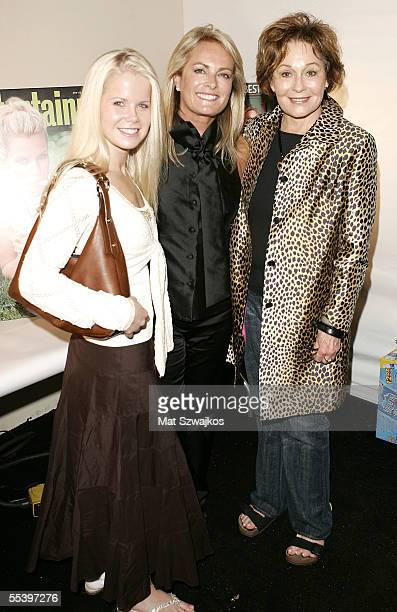 Actors Crystal Hunt and Marj Dusay with designer Pamella Roland pose backstage at the Pamella Roland Spring 2006 fashion show during Olympus Fashion...