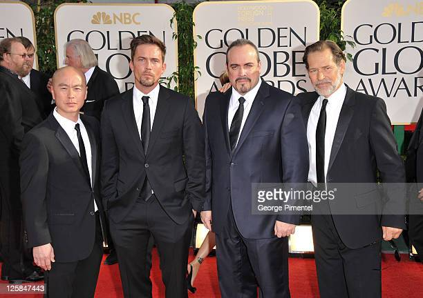 Actors CS Lee Desmond Harrington David Zayas and James Remar arrive at the 68th Annual Golden Globe Awards held at The Beverly Hilton hotel on...