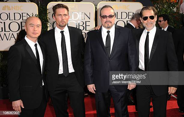 Actors CS Lee Desmond Harrington David Zayas and James Remar arrives at the 68th Annual Golden Globe Awards held at The Beverly Hilton hotel on...