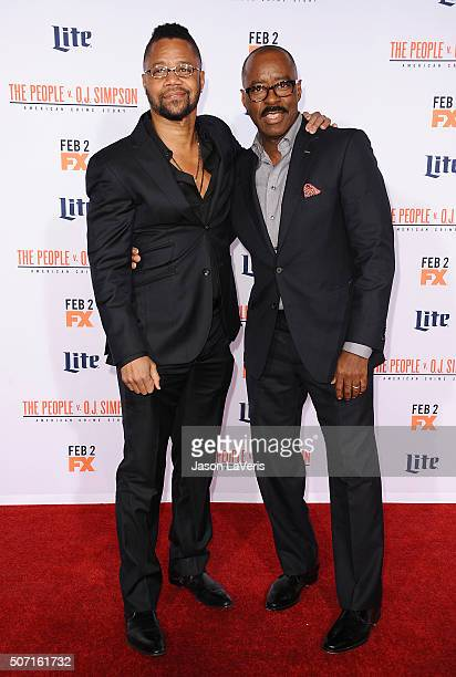 Actors Cuba Gooding Jr and Courtney B Vance attend the premiere of American Crime Story The People V OJ Simpson at Westwood Village Theatre on...