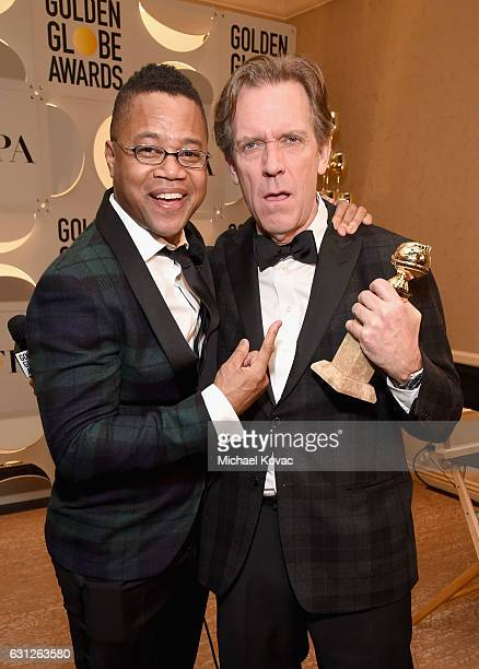 Actors Cuba Gooding Jr and Hugh Laurie attend the 74th Annual Golden Globe Awards at The Beverly Hilton Hotel on January 8 2017 in Beverly Hills...