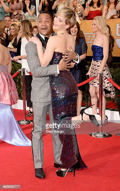 Actors Cuba Gooding Jr and Jennifer Lawrence attend 20th Annual Screen Actors Guild Awards at The Shrine Auditorium on January 18 2014 in Los Angeles...