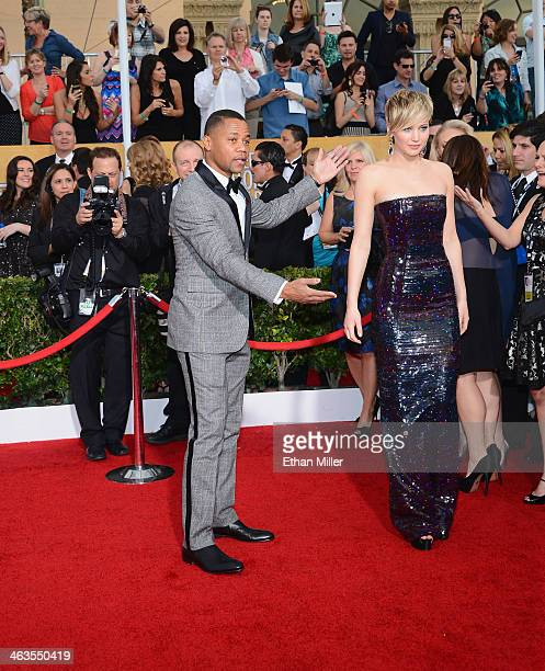Actors Cuba Gooding Jr and Jennifer Lawrence attend the 20th Annual Screen Actors Guild Awards at The Shrine Auditorium on January 18 2014 in Los...