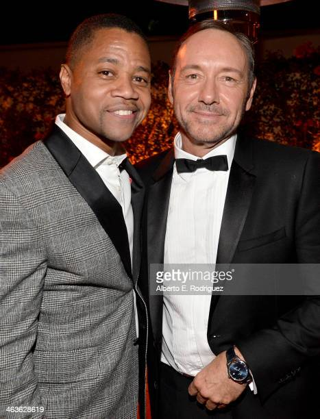 Actors Cuba Gooding Jr and Kevin Spacey attend the Weinstein Company Netflix's 2014 SAG after party in partnership with Laura Mercier at Sunset Tower...