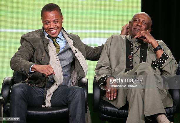 Actors Cuba Gooding Jr. And Louis Gossett Jr. Speak onstage during the 'Book of Negroes ' panel at the BET Networks portion of the 2015 Winter...