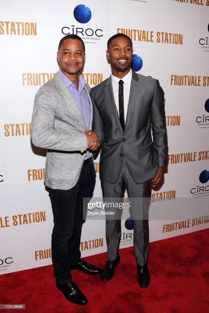 Actors Cuba Gooding Jr. and Michael B. Jordan arrive at the New York premiere of FRUITVALE STATION, hosted by The Weinstein Company, BET Films and CIROC Vodka on July 8, 2013 in New York City.
