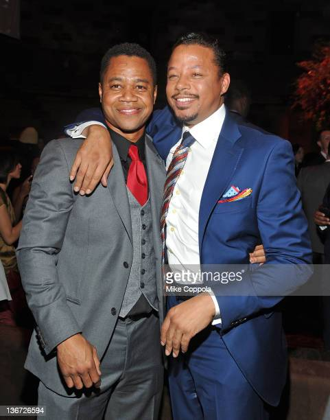 """Actors Cuba Gooding Jr. And Terrence Howard attend the """"Red Tails"""" premiere after party at Gotham Hall on January 10, 2012 in New York City."""