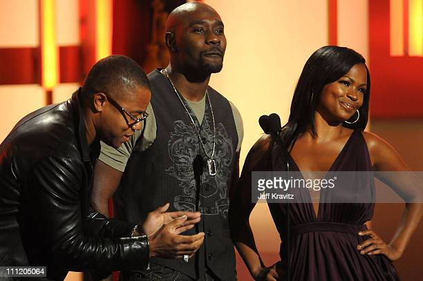 Actors Cuba Gooding Jr Morris Chestnut and Nia Long on stage during the 2008 BET Awards at the Shrine Auditorium on June 24 2008 in Los Angeles...