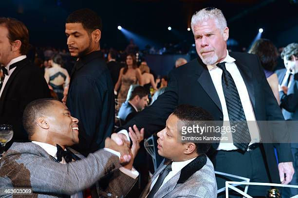 Actors Cuba Gooding Jr Terrence Howard and Ron Perlman attend 20th Annual Screen Actors Guild Awards at The Shrine Auditorium on January 18 2014 in...