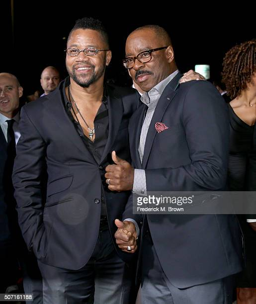 Actors Cuba Gooding Jrand Courtney B Vance attend the premiere of FX's 'American Crime Story The People V OJ Simpson' at Westwood Village Theatre on...
