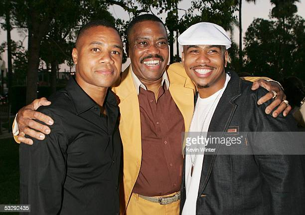 Actors Cuba Gooding with his sons Cube Gooding Jr and Omar Gooding pose at the premiere screenings of Showtime's 'Weeds' and 'Barbershop' at...