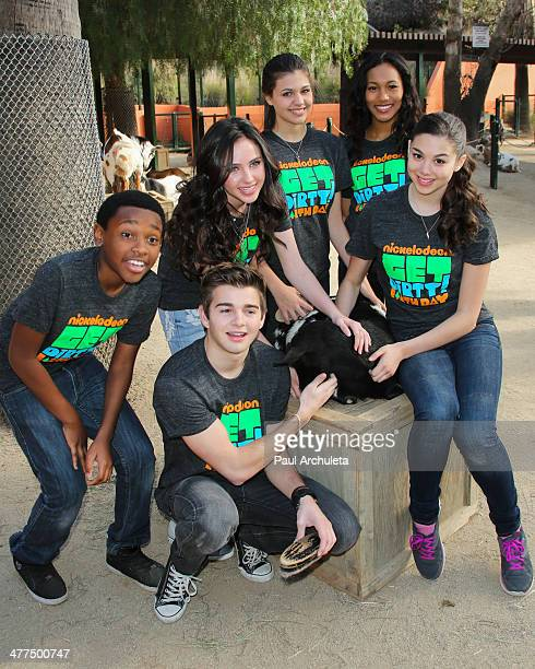 Actors Curtis Harris Jr Jack Griffo Ryan Newman Amber Montana Sydney Park and Kira Kosarin celebrate Earth Day with Nickelodeon at the Los Angeles...