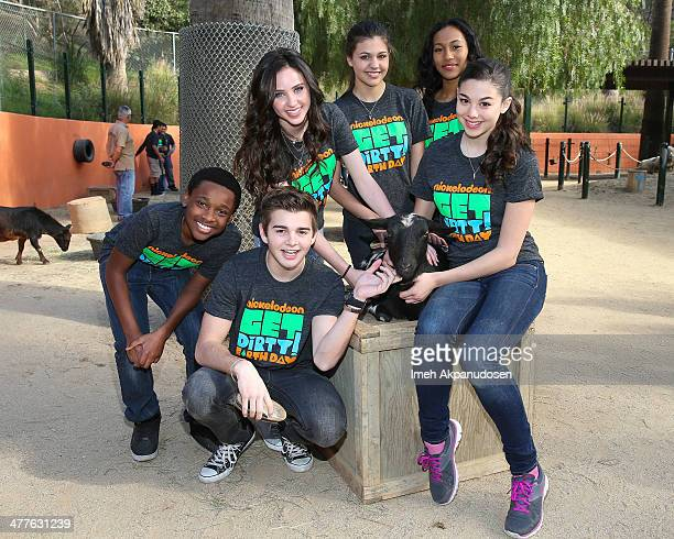 Actors Curtis Harris, Jr., Jack Griffo; Ryan Newman, Amber Montana, Sydney Park and Kira Kosarin celebrate 'Earth Day' with Nickelodeon at the Los...