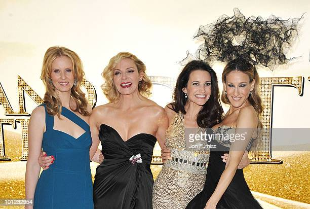 Actors Cynthia Davis Kim Cattrall Kristin Davis and Sarah Jessica Parker attend the UK premiere of Sex And The City 2 at Odeon Leicester Square on...
