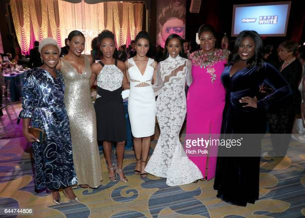 Actors Cynthia Erivo Vicky Jeudy Samira Wiley Kelly McCreary Aja Naomi King Adrienne C Moore and Danielle Brooks at Essence Black Women in Hollywood...